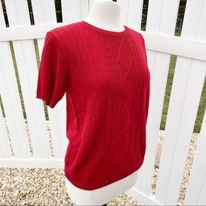 AlfredDunner Dark Pink Short Sleeve Knit Sweater